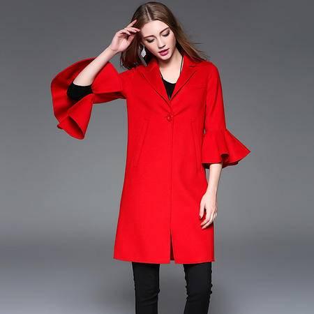 施悦名 2016秋冬新款双面呢大衣7分袖荷叶袖中长款羊绒外套羊毛风衣女装1866