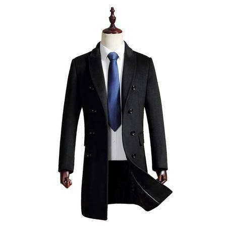 汤河之家 2016秋冬新款男式羊毛呢大衣 中长款双排扣青年毛呢外套 1721