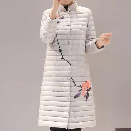施悦名 新品大牌显瘦印花多色立领白鸭绒冬季女士中长款羽绒服女薄款 8166