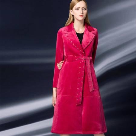 施悦名 欧洲站2016秋冬新款西装领丝绒修身系腰带风衣中长款钮钉大衣外套 Y16WT0590Z2