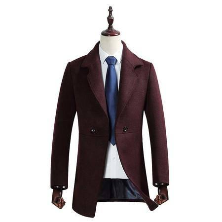 汤河之家 秋冬新款羊毛大衣男 韩版修身中长款双排扣翻领呢大衣外套 1759