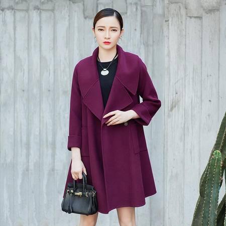 施悦名 羊毛大衣新款 2016冬装毛呢外套中长款 西装领宽松版羊毛大衣 16055