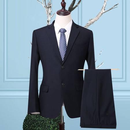 汤河之家 新款男士西服商务职业套装韩版修身正装结婚西装新郎礼服 006蓝色