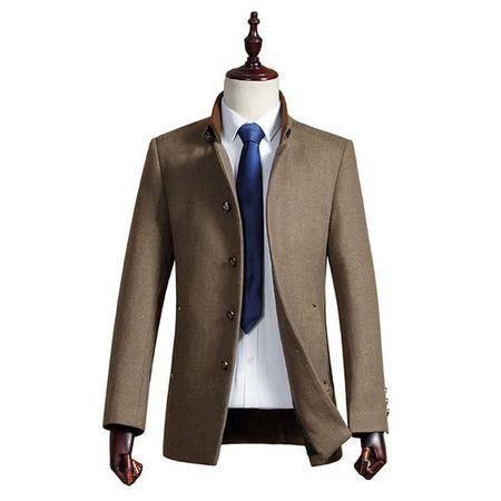 汤河之家 秋冬新款毛呢大衣男 商务立领羊毛呢大衣 羊毛外套 16017