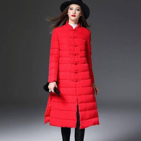 施悦名2016冬装女品牌欧美中国风盘扣改良旗袍中长款加厚羽绒服女 86335