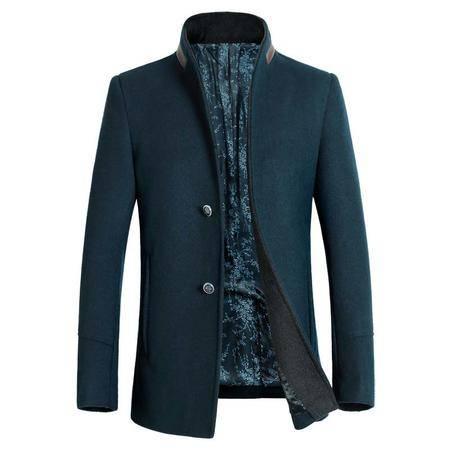 汤河之家 2016秋冬新款男式羊毛呢大衣 商务绅士立领青年毛呢大衣外套 8015