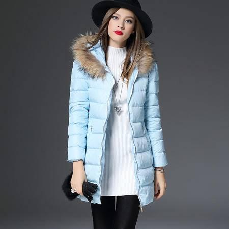 施悦名 羽绒服女中长款加厚2016冬装新款欧美高端连帽女士修身外套 86338