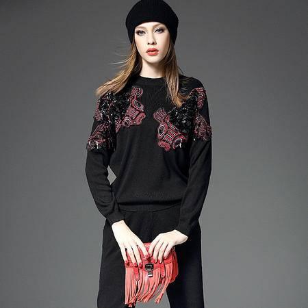 施悦名 欧美潮牌针织两件套 双鱼贴布绣花针织衫+针织哈伦裤两件套 18045
