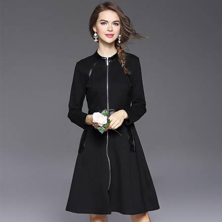 施悦名 立领拼皮拉链A字裙纯色修身显瘦连衣裙 61328