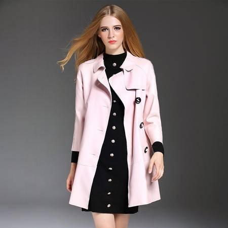 施悦名 欧洲站2016秋冬季女装外套欧美外贸九分袖单排扣纯色PU皮女士外套 YM16504