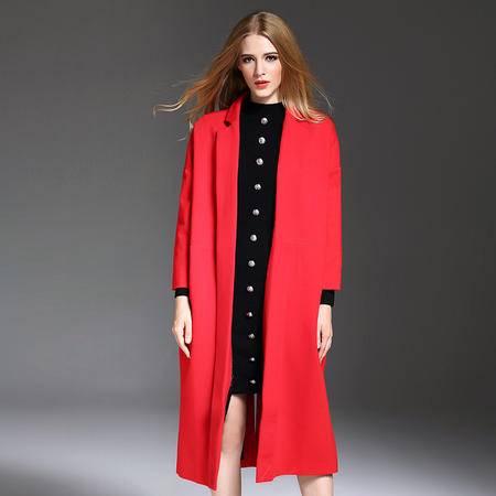 施悦名 2016秋冬女装新款大衣外套欧美高端服装西装领长袖纯色开衫风衣 YM16453