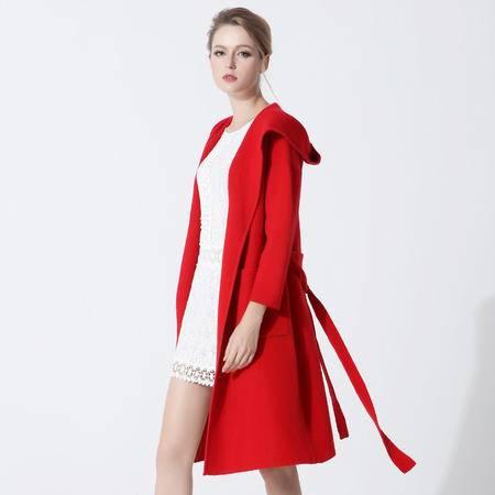 施悦名 双面羊绒针织翻领连帽系带加长款风衣外套女2016秋冬新款 G6YDE014