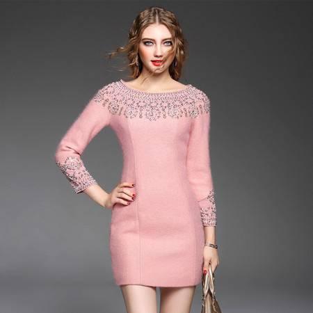 施悦名 潮流新品欧洲站钉珠小香风毛呢修身长袖连衣裙 61081