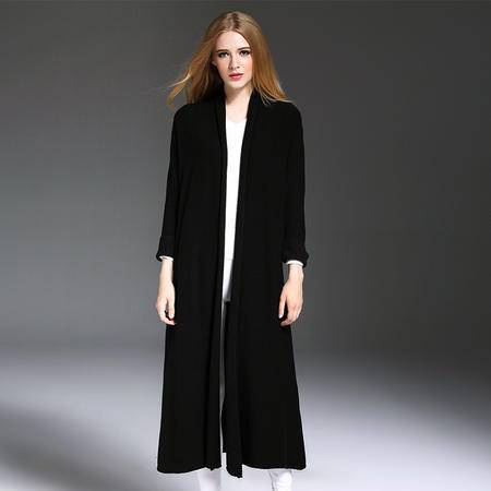 施悦名  2016秋冬女装欧美外贸服装长袖V领加长款弹力针织羊毛风衣外套女 YM16513
