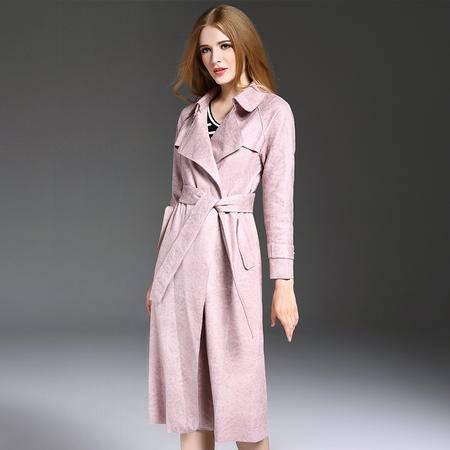施悦名 鹿皮绒女士外套 2016秋冬女装长袖系腰带风衣外套 欧洲站外贸服装 YM16452