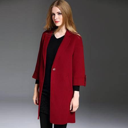 施悦名 欧洲站2016秋冬季女装新款西装领七分袖一粒扣宽松百搭羊毛呢外套 YM16512