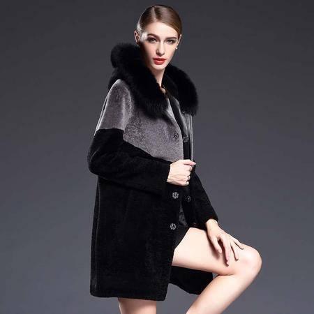 施悦名 皮草女装欧版大毛领连帽撞色拼接真皮毛一体女外套 G6DP8028