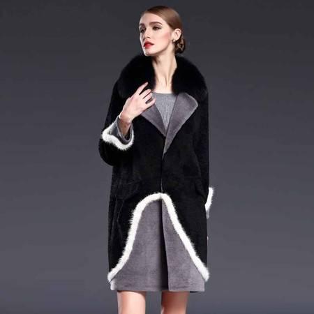 施悦名 不规则拼接欧美皮草女装翻领撞色真皮修身时尚外套 G6DP8099