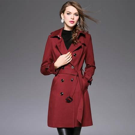 施悦名 2016秋冬新品加厚修身显瘦大衣长款风衣外套 61318