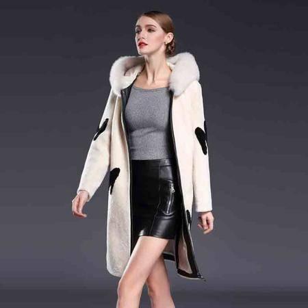 施悦名 皮草女装连帽领拉链立体装饰绵羊皮毛一体外套大衣 G6DP8050