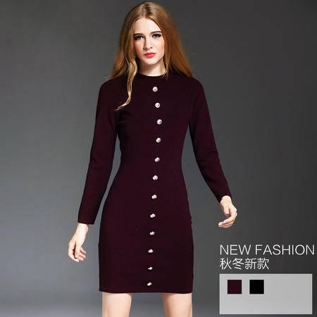 施悦名 欧美女装连衣裙2016秋冬新款 长袖高端针织羊毛打底裙女 YM16480