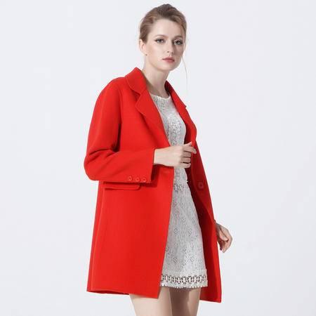 施悦名 2016貂绒外套大衣长款修身一粒扣西装翻驳领时尚女装上衣 G6YDE025
