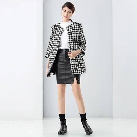 施悦名 2016秋冬新款女装九分袖中长款外套 欧美风几何提花宽松大衣 9785