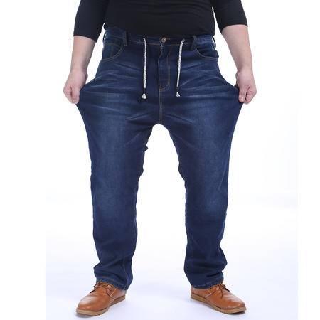 汤河之家 男装牛仔裤系绳松紧腰弹力加绒加厚加肥加大牛仔长裤 16013