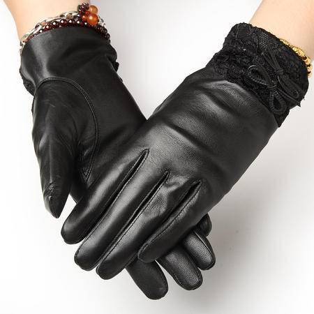 小童马 山羊皮真皮手套女秋冬季保暖手套薄款骑行皮手套女 加绒加厚保暖 8505