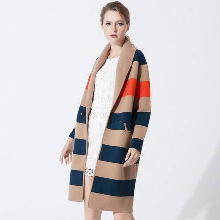 施悦名 羊绒大衣女秋冬新款欧美大码女装条纹修身长款风衣外套 G6YDE050