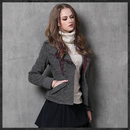 施悦名 2016冬装新款毛呢小西装 复古翻领显瘦羊绒外套 B9551