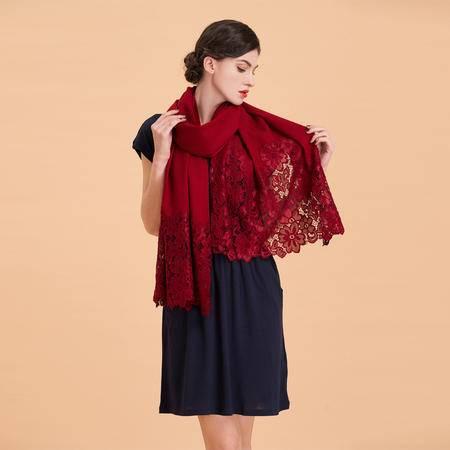 小童马 2016高档斜纹羊毛绣花披肩礼品围巾优雅女士高贵保暖 蕾丝情