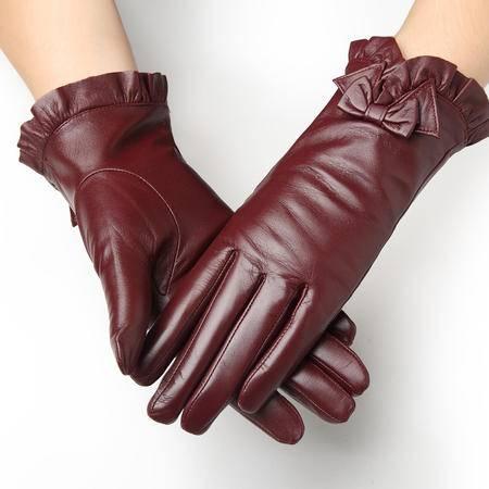 小童马 韩版女士皮手套秋冬季小羊皮真皮手套女式 保暖加厚绒里 红色 8553