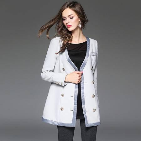 施悦名 2016秋冬新品女式西装中长款女外套 T160789