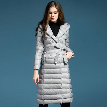 施悦名 欧洲站2016冬装新款白鸭绒轻薄羽绒服女士加长款修身外套 PE66055