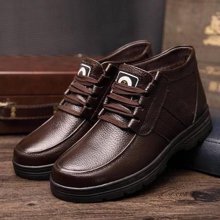 小童马 2016冬季新款男棉鞋休闲保暖靴 男士真皮高帮鞋保暖棉皮鞋 M8665