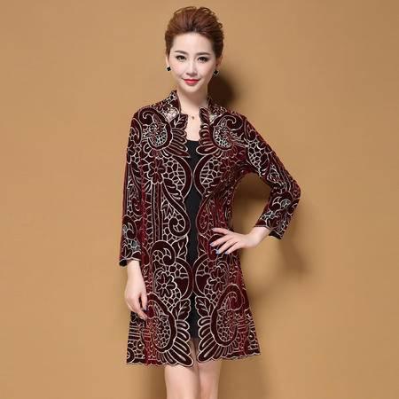 施悦名 秋冬季新款中老年女装气质奢华显瘦妈妈装长款外套大衣 AM16D1038