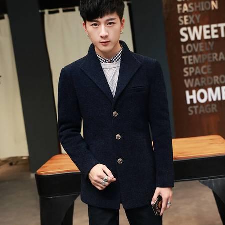 汤河之家 冬季男式时尚中长款毛呢大码呢子外套男士风衣韩版大衣 AH005大衣
