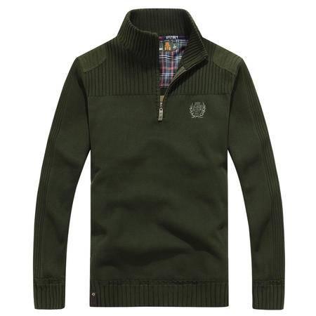 汤河之家 2016新款毛衣 男装直筒休闲加厚半拉链长袖毛衣 F-2117-771