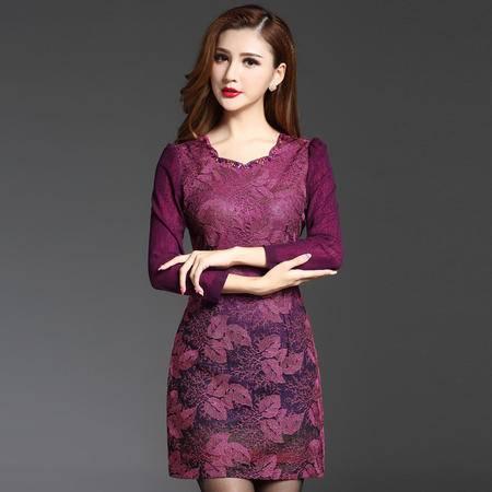 施悦名 秋冬新款妈妈装连衣裙显瘦钉珠蕾丝优雅气质裙装 AM16AT0870