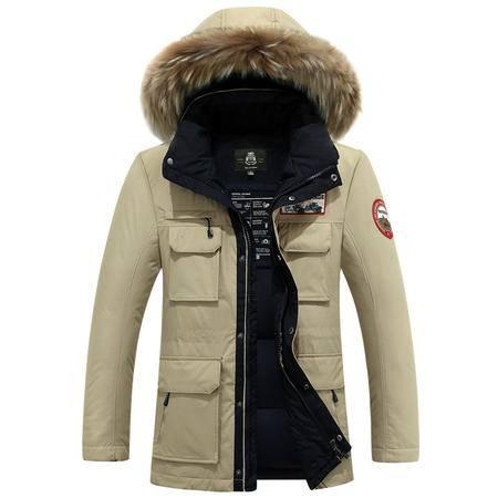 汤河之家 男士羽绒服中长款加厚貉子毛领男装外套外套潮 99732-762