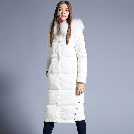 施悦名 2016冬季新款欧美羽绒服女长款加厚帽子真毛领外套女装86703
