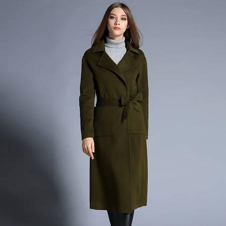 施悦名 高端羊绒大衣女装翻领加长款欧美女式风衣欧洲站品牌外套 86547