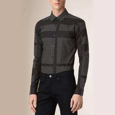 汤河之家 欧美外贸原单男装B家纯棉修身长袖衬衫 男式印花衬衣 GL156