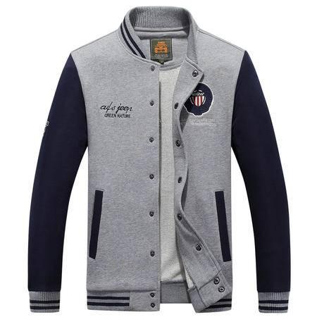 汤河之家 秋冬新款男卫衣开衫休闲立领单排扣外套 W1607-762