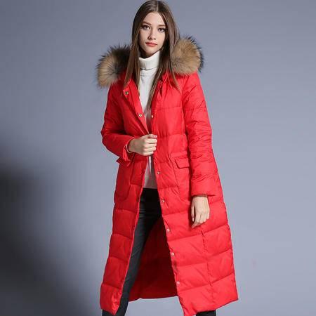 施悦名 品牌超大貉子毛毛领修身羽绒服加长款连帽女式外套 86843