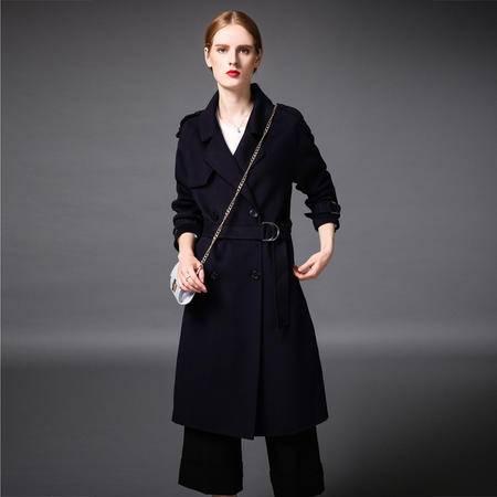 施悦名 2016新款手工双面羊绒欧美风格长款双面羊毛大衣 8322