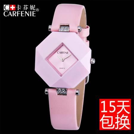 汤河之家 卡芬妮新款真皮带陶瓷手表女款防水日本两针石英机芯陶瓷手表 CF8016LP