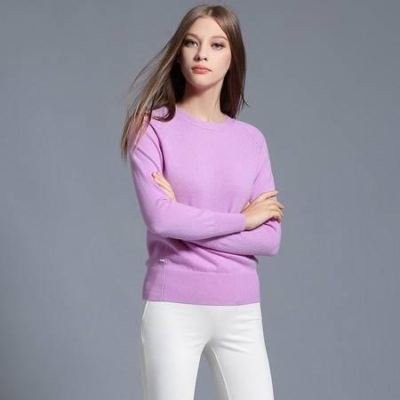 施悦名 时尚女装毛衣羊绒衫女100纯羊绒圆领修身女式针织衫秋装新款 86101