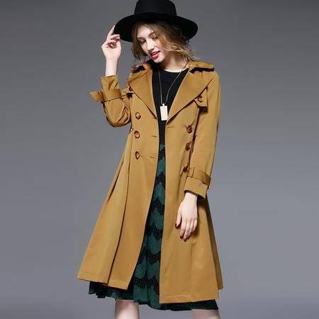 施悦名 欧美2016品牌女装秋冬装风衣女长款双排扣修身外套爆款 6133